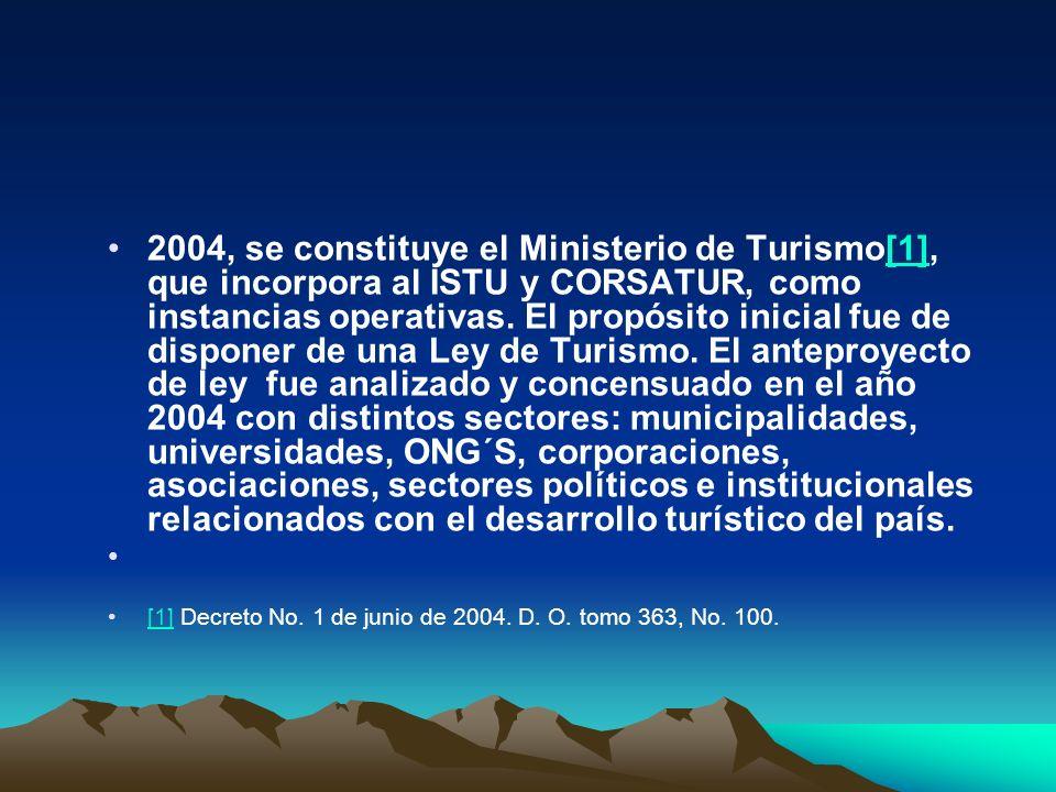 2004, se constituye el Ministerio de Turismo[1], que incorpora al ISTU y CORSATUR, como instancias operativas. El propósito inicial fue de disponer de una Ley de Turismo. El anteproyecto de ley fue analizado y concensuado en el año 2004 con distintos sectores: municipalidades, universidades, ONG´S, corporaciones, asociaciones, sectores políticos e institucionales relacionados con el desarrollo turístico del país.